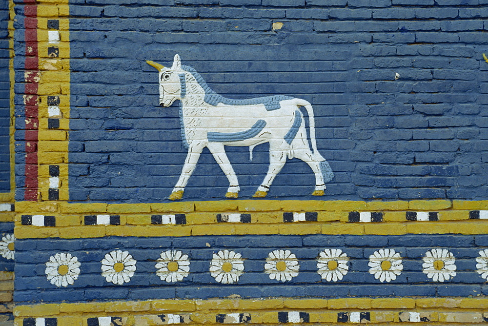 Close-up of Bull of Adad symbol on the Ishtar Gate, Babylon, Mesopotamia, Iraq, Middle East