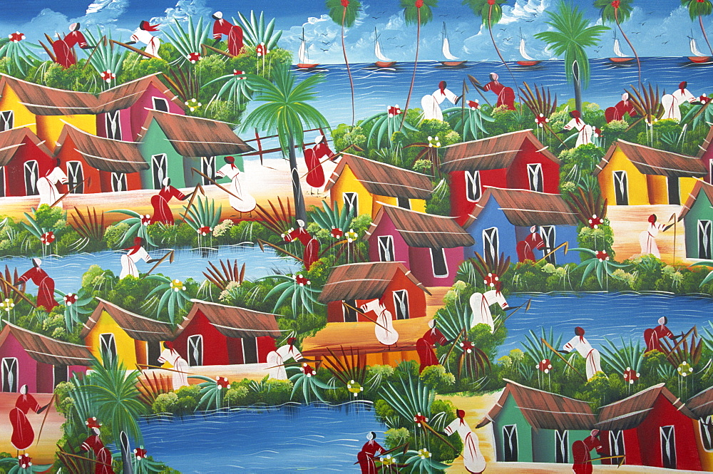 Naive Haitian painting, Colonial Zone, Santo Domingo, Dominican Republic, West Indies, Central America
