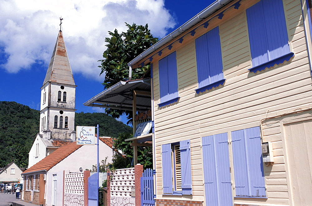 Village and church, Les Anses d'Arlets, Martinique, West Indies, Caribbean, Central America
