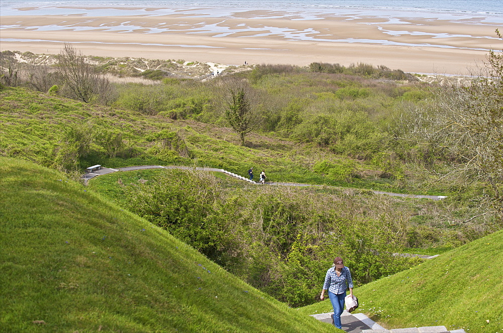 Omaha Beach, site of D-day landings during the Second World War seen from the American cemetery, Colleville-sur-Mer, Calvados, Normandy, France, Europe