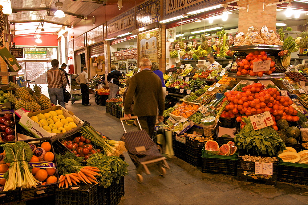 Fruit and vegetable stalls, Triana Market, Seville, Andalucia, Spain, Europe