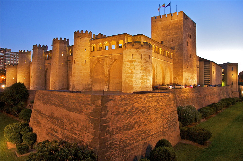 Walls and towers at night of the Aljaferia Palace, dating from the 11th century, Saragossa (Zaragoza), Aragon, Spain, Europe