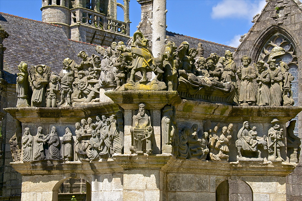 Calvary dating from between 1581 and 1588, Passion of Christ detail, Guimiliau parish enclosure, Finistere, Brittany, France, Europe