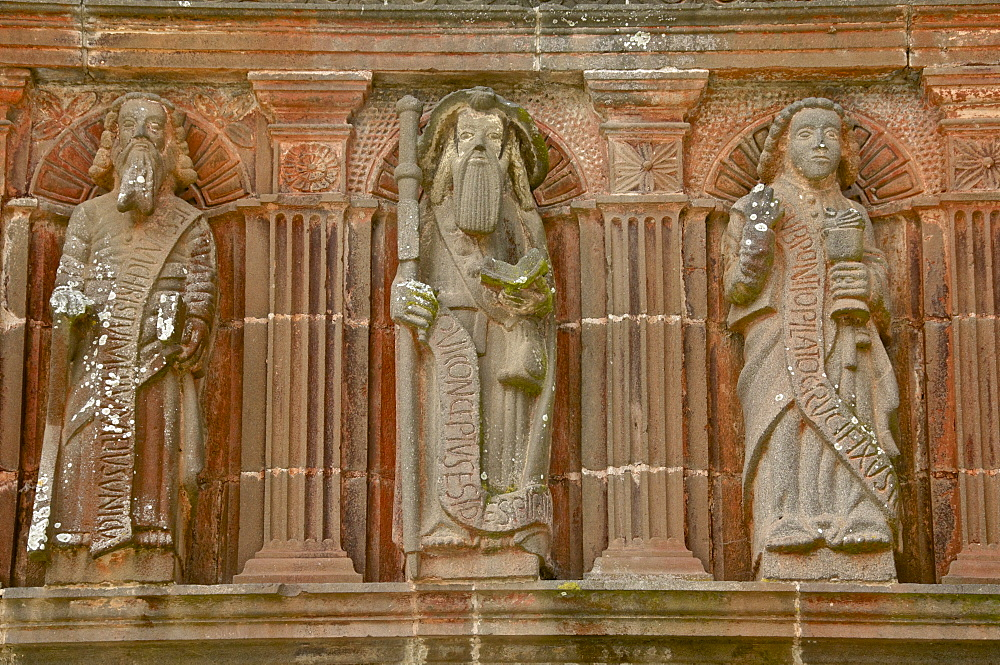 Detail of porch dating from the 15th century of Apostles, La Martyre, Finistere, Brittany, France, Europe
