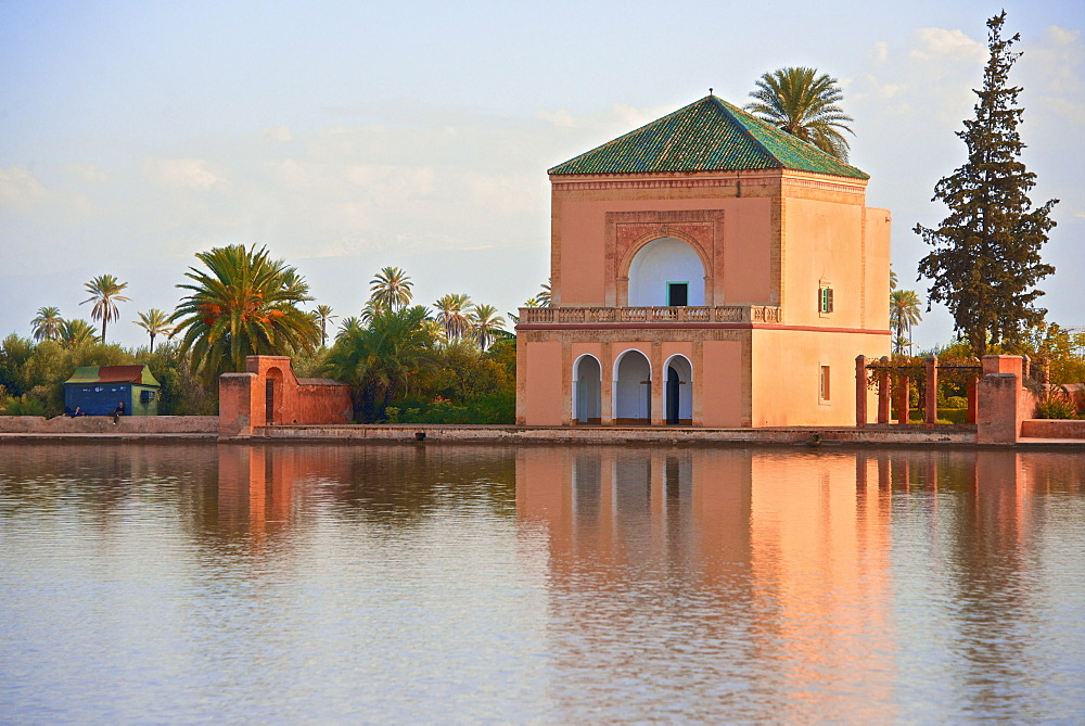 Water Basin dating from the 12th century Almohade period and Pavilion, Menara Gardens, Marrakech, Morocco, North Africa, Africa  - 665-5342