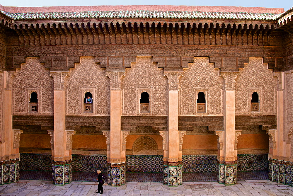 Patio, students' rooms windows and walls with floral and geometrical motifs, Koranic School of Medersa Ben Youssef dating from 1570, UNESCO World Heritage Site, Marrakech, Morroco, North Africa, Africa