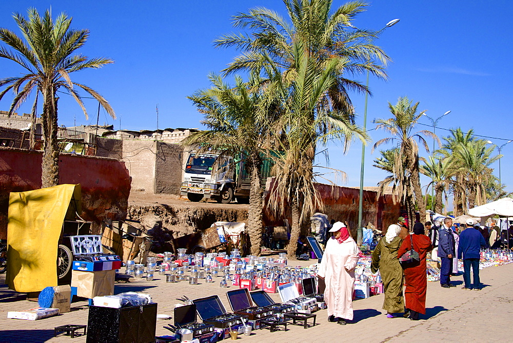 Commerce along the street of the Medina, Marrakech, Morocco, North Africa, Africa