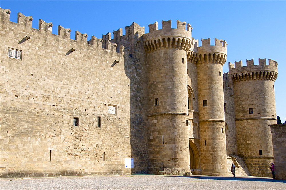 Entrance gate and towers, Palace of the Grand Master, Rhodes, Rhodes island, Greek Islands, Greece, Europe