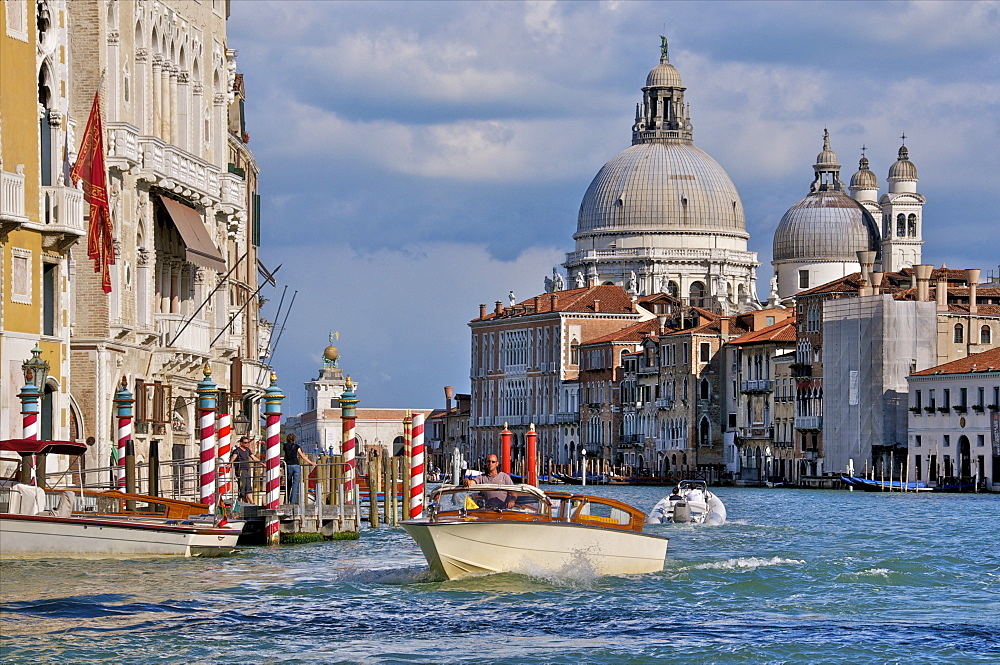 Taxi and boat on Grand Canal with palace facades and Salute church domes, San Marco, Venice, UNESCO World Heritage Site, Veneto, Italy, Europe - 665-5426