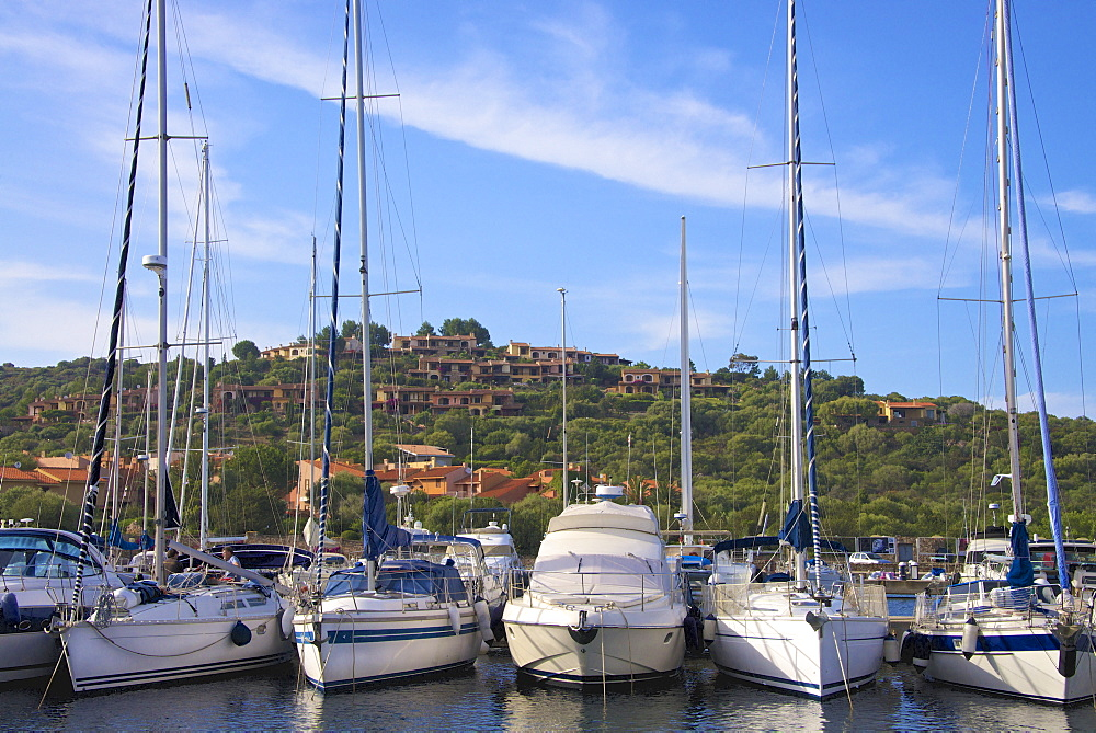 Marina and perched village, Ottiolu harbour, Costa Degli Oleandri, Sardinia, Italy, Mediterranean, Europe - 665-5471