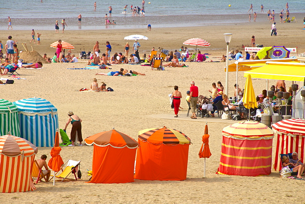 Typical color striped beach cabins, tourists, beach and sea, Trouville sur Mer, Normandy, France, Europe - 665-5480