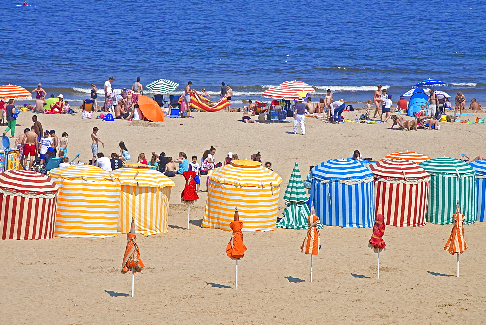 Typical color striped beach cabins, tourists, beach and sea, Trouville sur Mer, Normandy, France, Europe - 665-5483