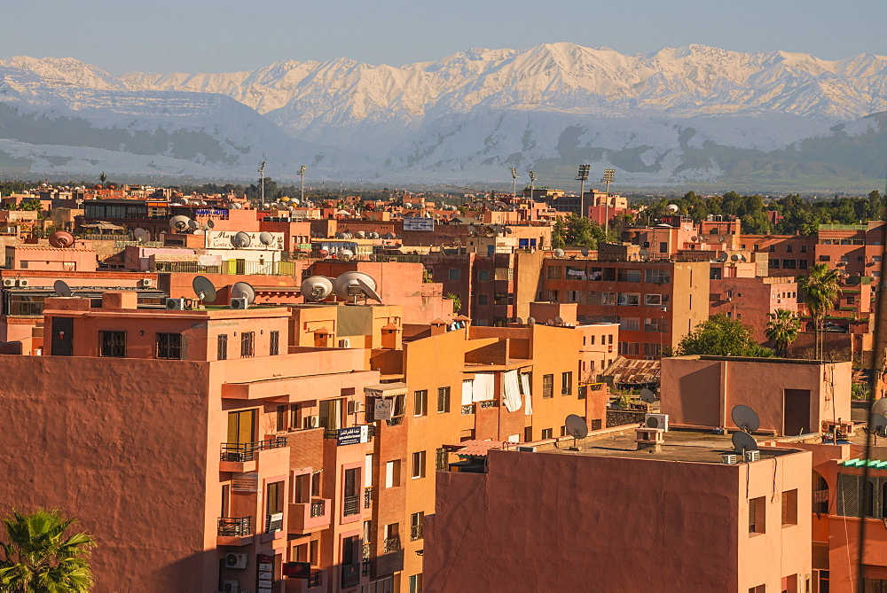 Marrakech panorama, with Atlas Mountains in the backgroud, Marrakesh, Morocco, North Africa, Africa - 665-5493