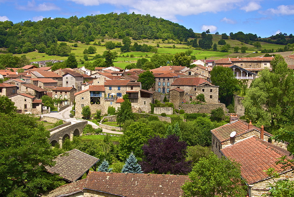 Panorama of Lavaudieu, a medieval village, Auvergne, Haute Loire, France, Europe - 665-5507