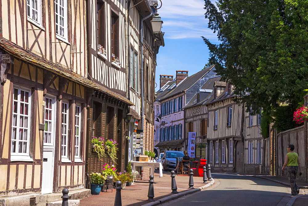 Typical half timbered houses in old town, Lyons la Foret, Eure, Normandy, France, Europe - 665-5520