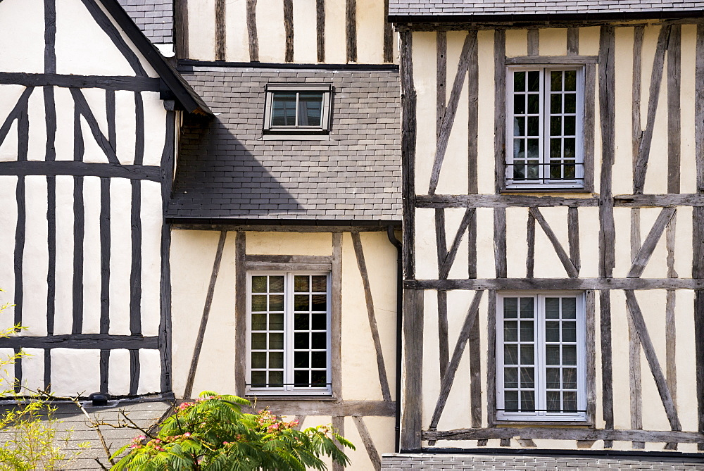 Typical half timbered houses in old town, Lyons la Foret, 27, Eure, Normandie, France