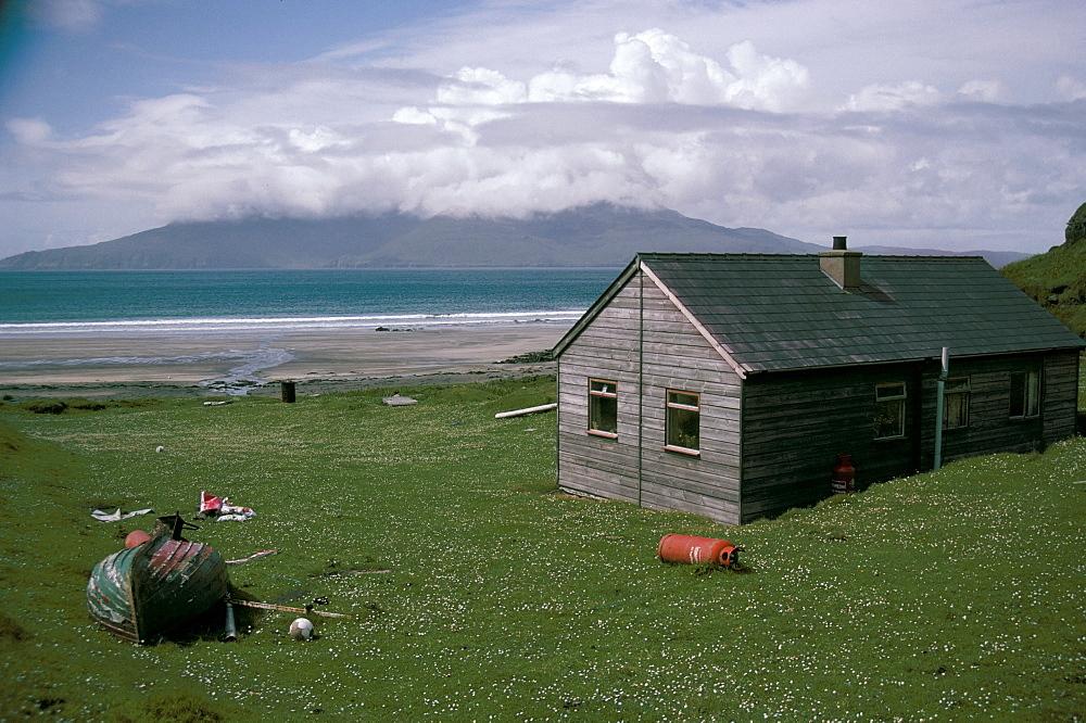Wooden house, Laig Bay, Isle of Eigg, Inner Hebrides, Scotland, United Kingdom, Europe