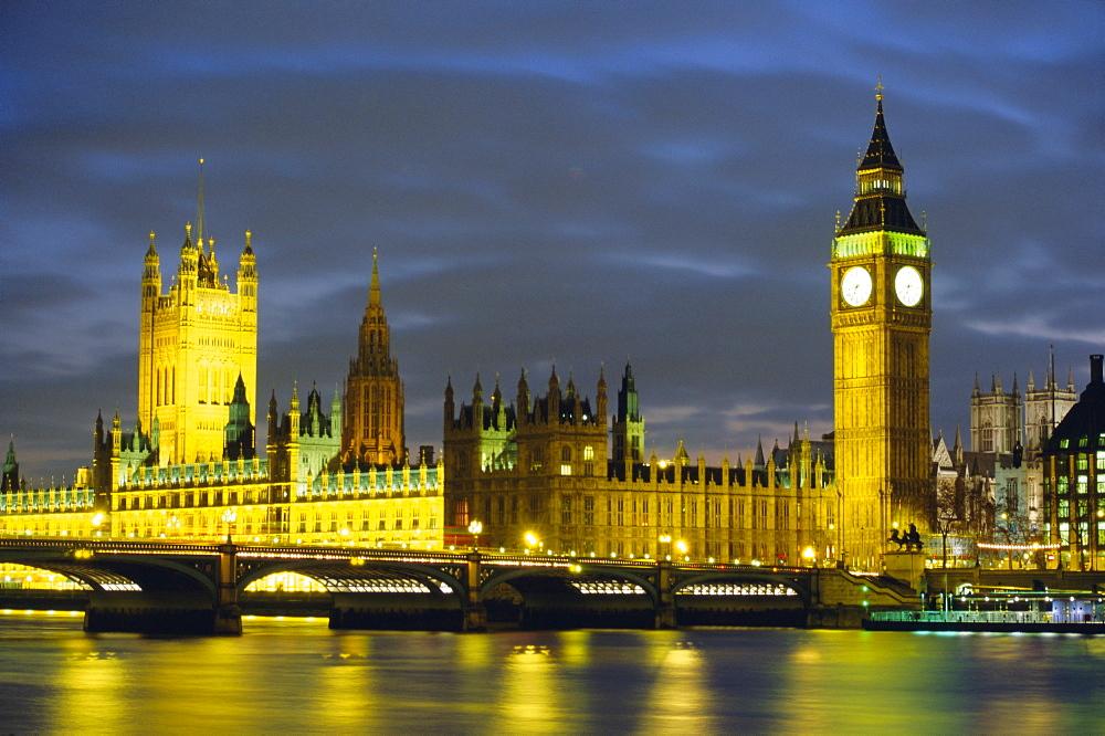 Houses of Parliament at dusk, UNESCO World Heritage Site, Westminster, London, England, United Kingdom (U.K.), Europe