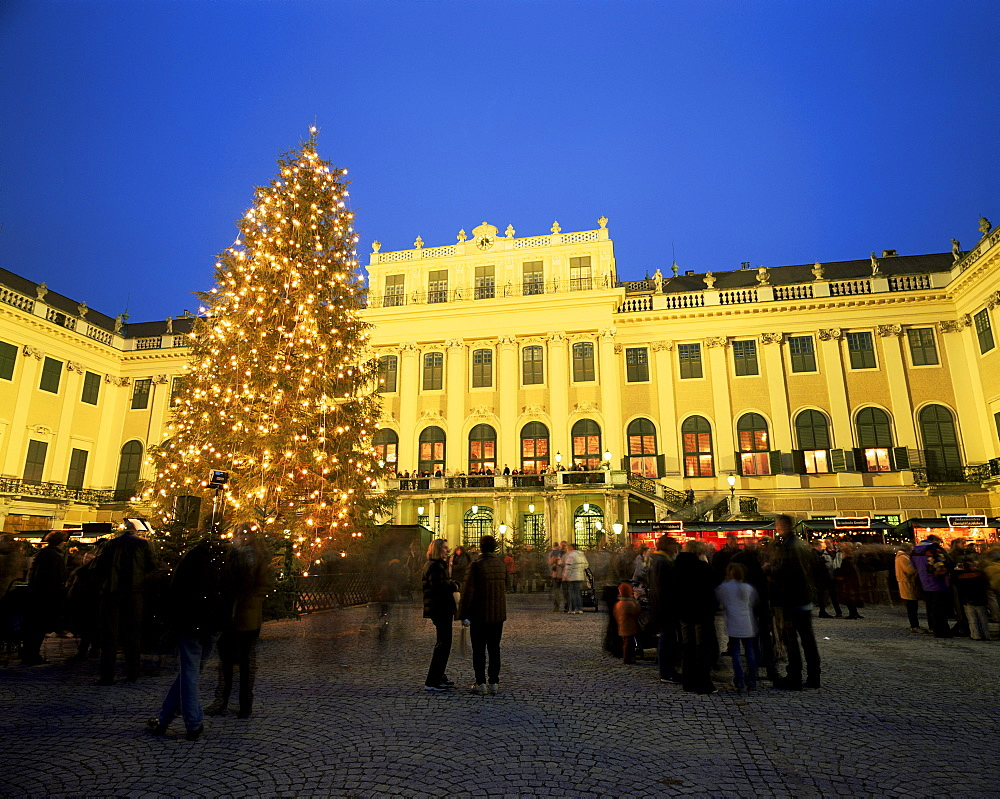 Christmas tree in front of Schonbrunn Palace at dusk, UNESCO World Heritage Site, Vienna, Austria, Europe