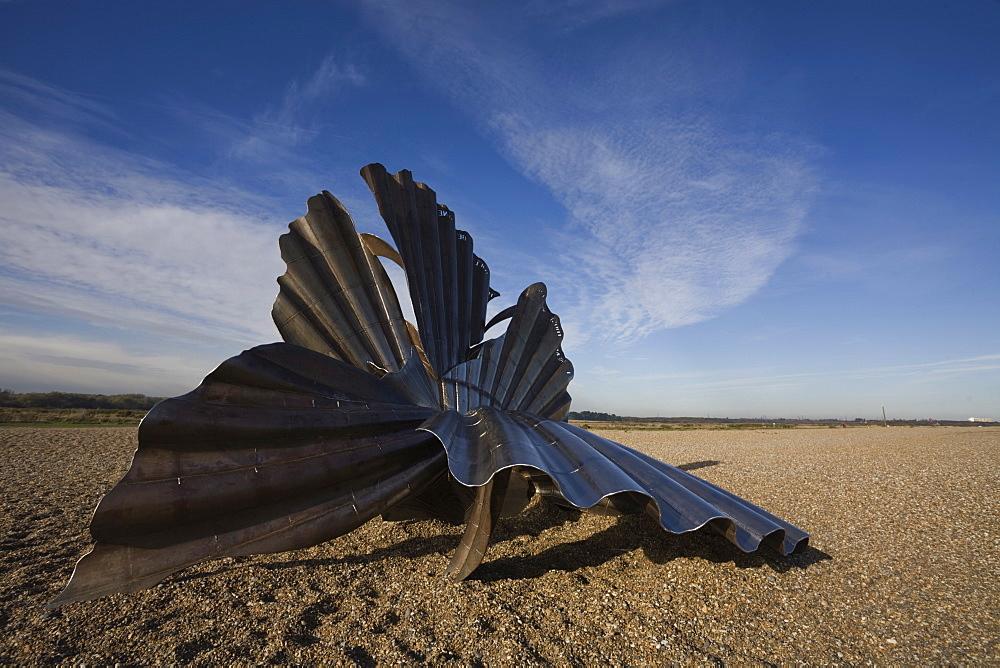 Scallop Sculpture by Maggi Hambling, Aldeburgh, Suffolk, England, United Kingdom, Europe