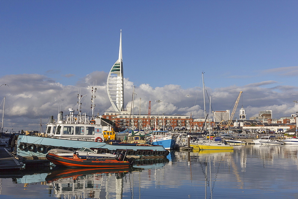 Spinnaker Tower and Camber Docks, Portsmouth, Hampshire, England, United Kingdom, Europe - 667-2527