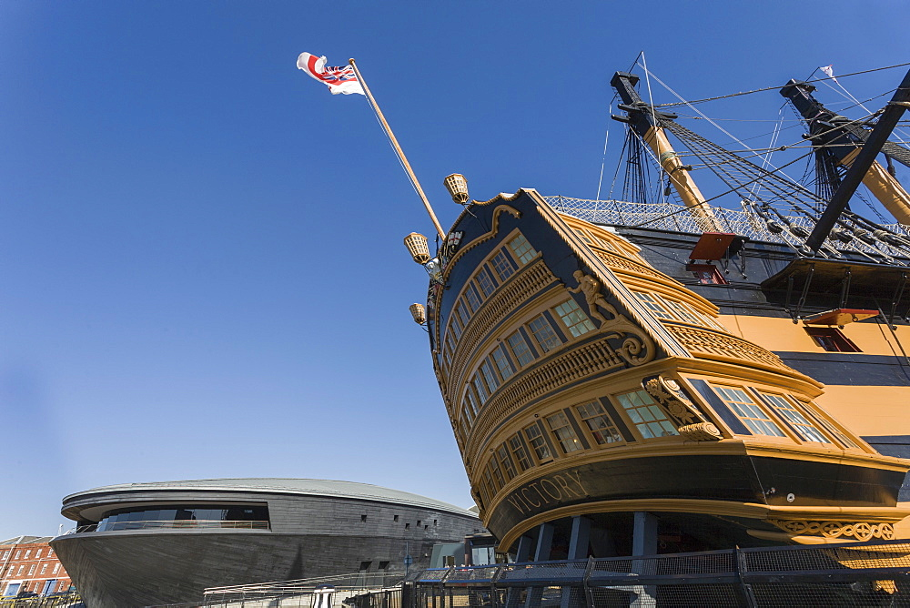 HMS Victory and the new Mary Rose Museum, HM Naval Base, Portsmouth Historic Dockyard, Portsmouth, Hampshire, England, United Kingdom, Europe