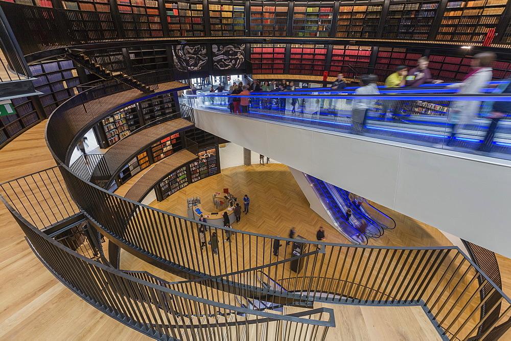 Interior of new Library of Birmingham, Centenary Square, Birmingham, West Midlands, England, United Kingdom, Europe