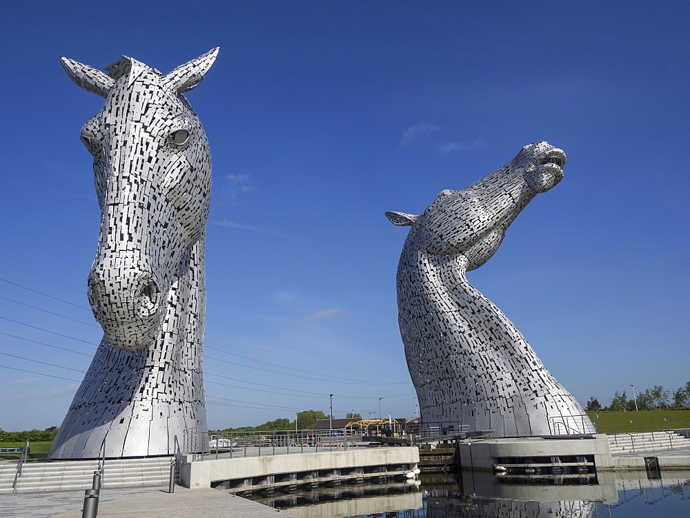 The Kelpies equine sculptures, Helix Park, Falkirk, Stirlingshire, Scotland, United Kingdom, Europe