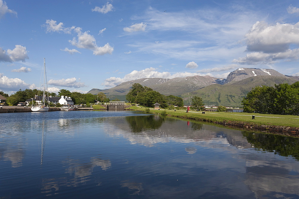 Ben Nevis and Caledonian Canal, Corpach, Fort William, Lochaber, Highlands, Scotland, United Kingdom, Europe