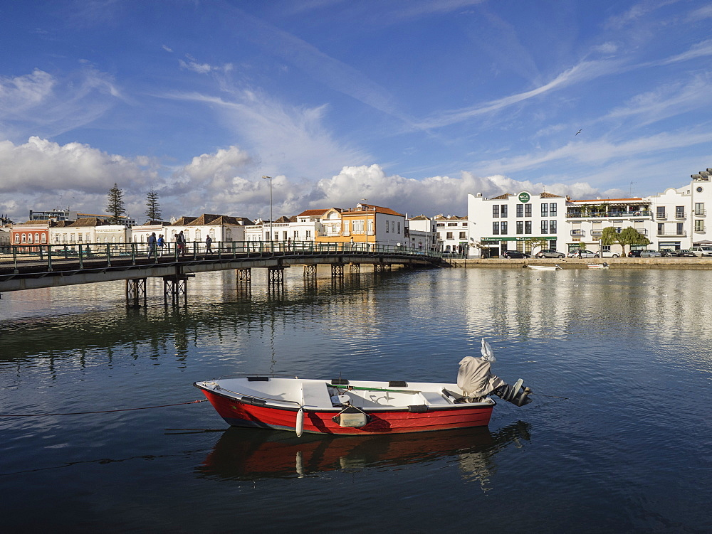 Boat and Pedestrian Bridge, River Gilao,Tavira, Algarve, Portugal, Europe - 667-2641