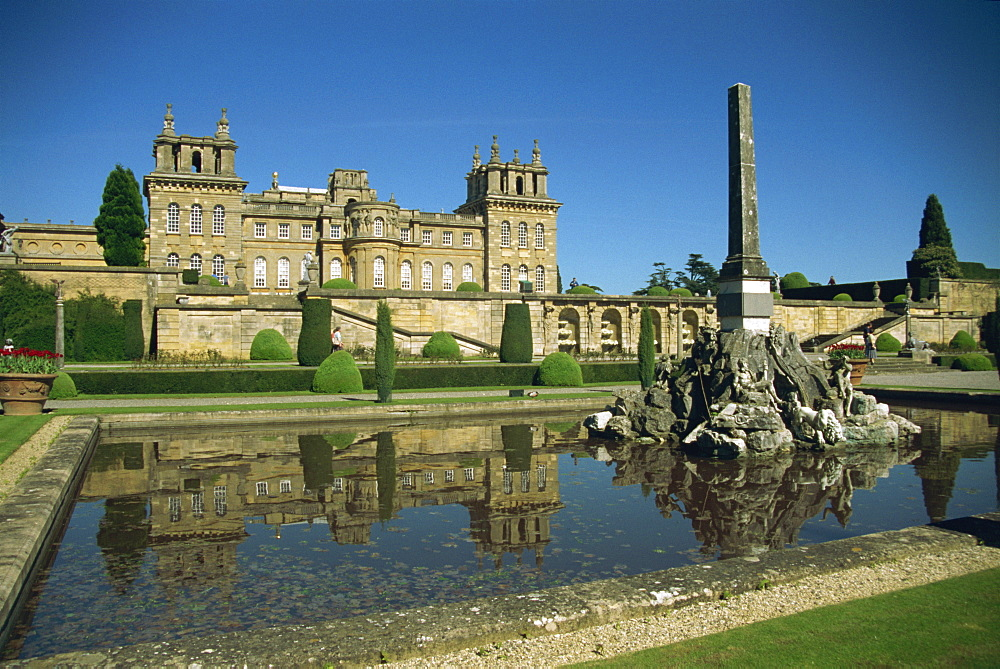Blenheim Palace and Lower Terrace, Woodstock, Oxfordshire, England, United Kingdom, Europe