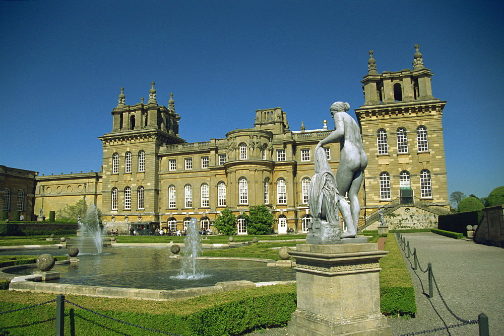 Blenheim Palace from the gardens, Woodstock, Oxfordshire, England, United Kingdom, Europe