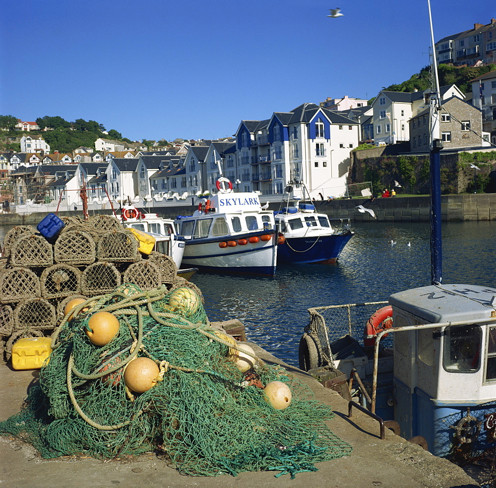 Nets on quayside, Brixham harbour, Devon, England, United Kingdom, Europe