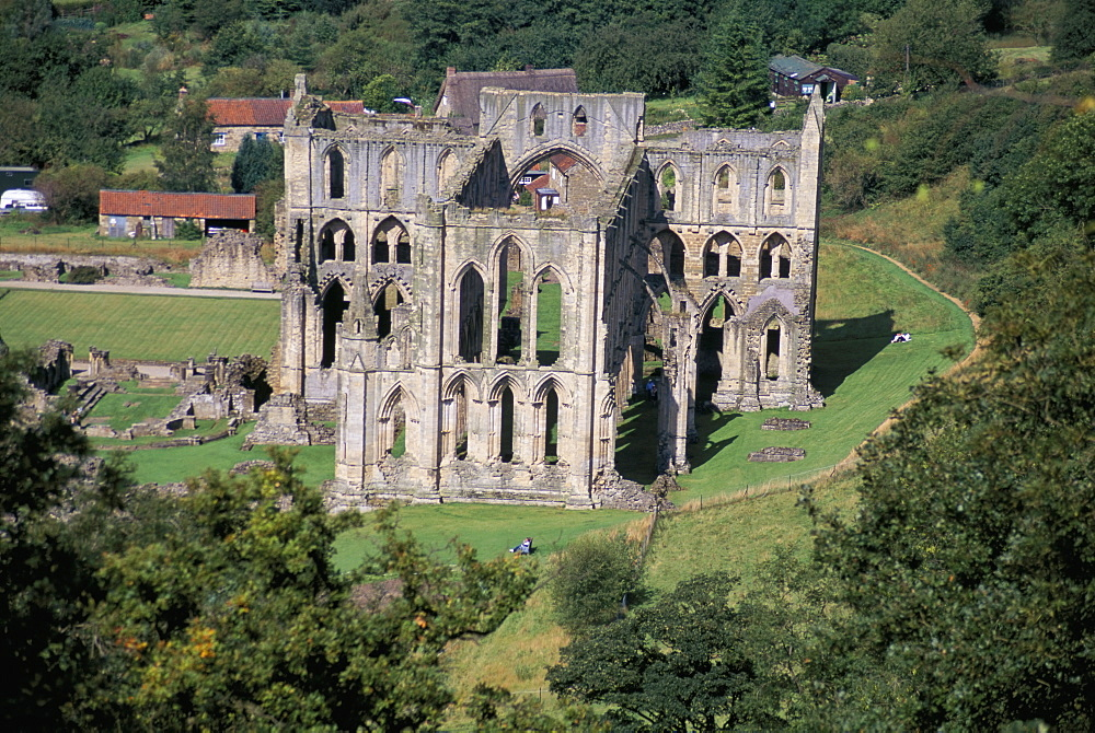 Rievaulx Abbey from Rievaulx Terrace, North Yorkshire, England, United Kingdom, Europe