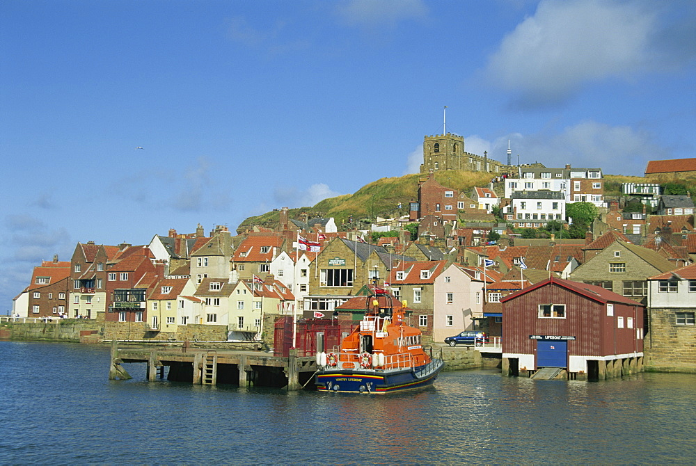 Lifeboat, harbour and church, Whitby, North Yorkshire, England, United Kingdom, Europe