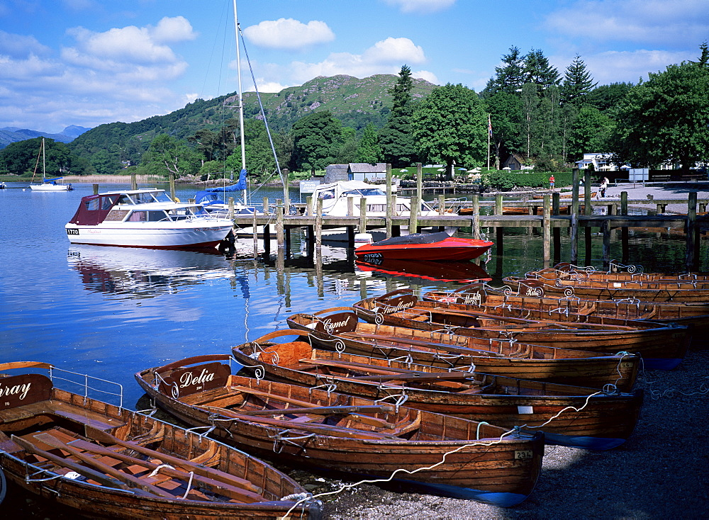 Rowing boats, Waterhead, Ambleside, Lake Windermere, Lake District, Cumbria, England, United Kingdom, Europe