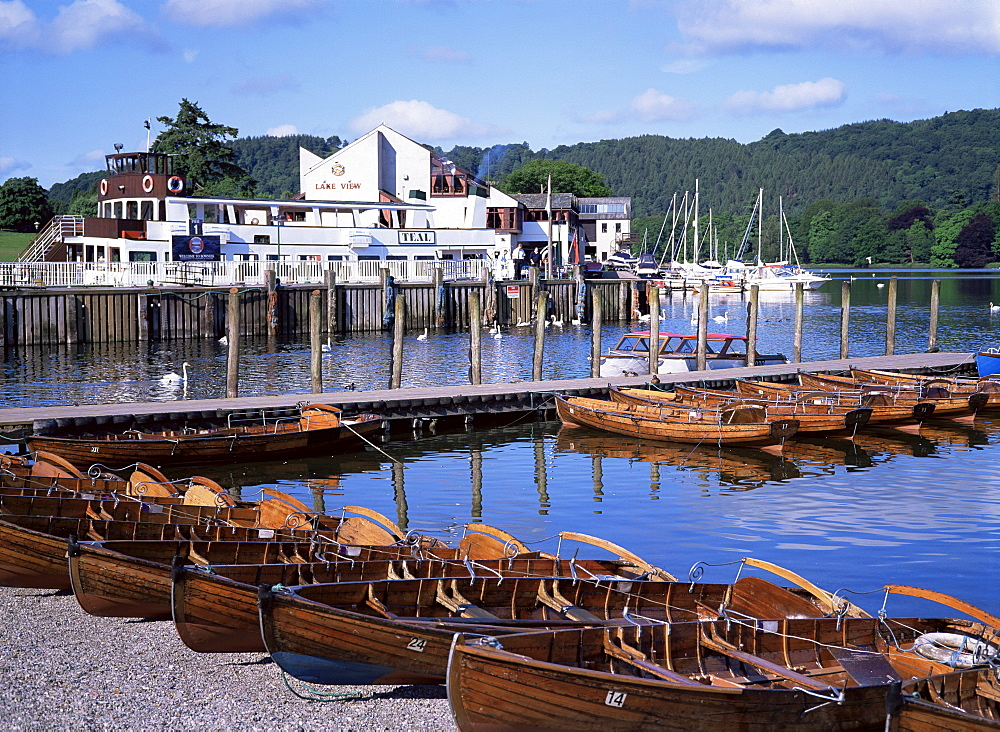 Rowing boats and pier, Bowness-on-Windermere, Lake District, Cumbria, England, United Kingdom, Europe