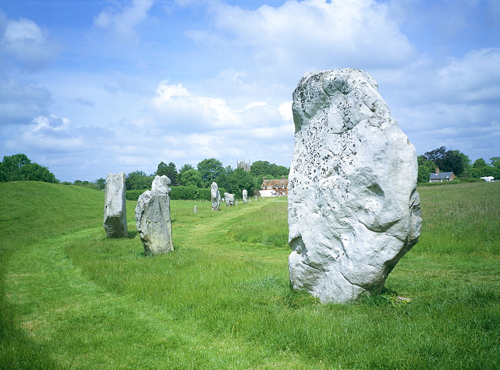 Standing stones in prehistoric stone circle, Avebury, UNESCO World Heritage Site, Wiltshire, England, United Kingdom, Europe