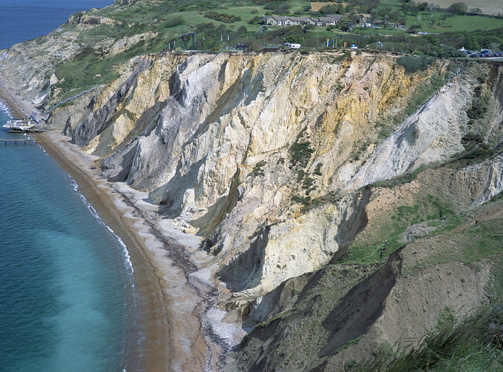 Multi-coloured cliffs on the coast, Alum Bay, Isle of Wight, England, United Kingdom, Europe
