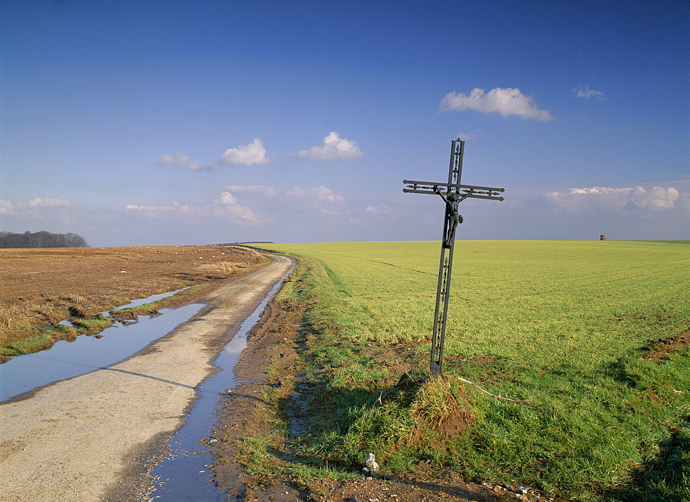 Christian calvary beside muddy track and fields in landscape near Agincourt, Nord Pas de Calais, France, Europe