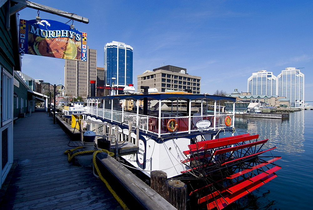 Harbour Walk and city view, Halifax, Nova Scotia, Canada, North America