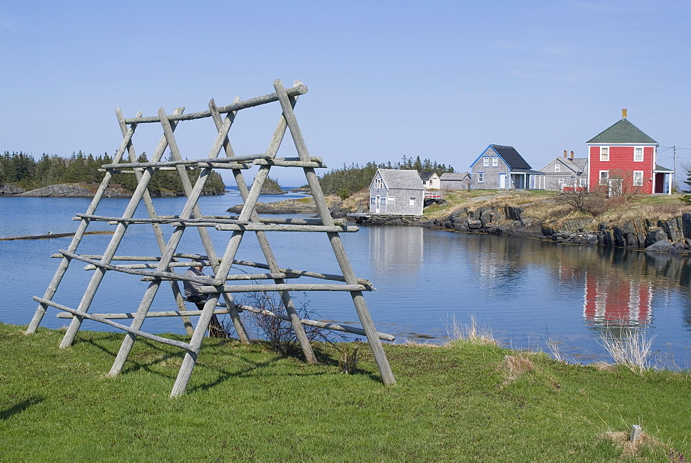 Fish drying racks in the fishing village of Stonehurst South, Nova Scotia, Canada, North America