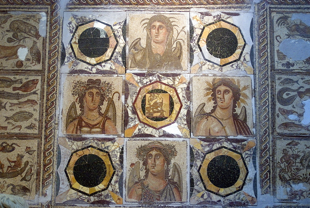 Mosaic from one of the Roman sites in Libya, Jamahiriya Museum, Tripoli, Libya, North Africa, Africa