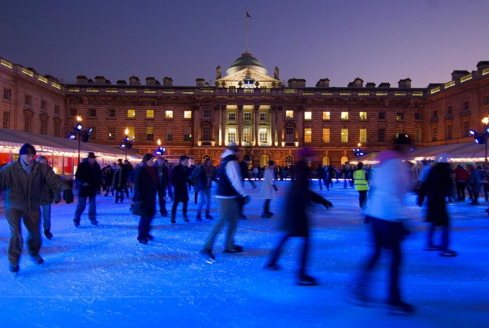 Winter ice skating rink, Somerset House, London, England, United Kingdom, Europe