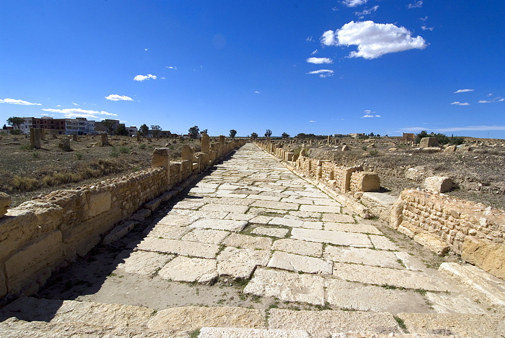One of the main roads at the Roman ruin of Sbeitla, Tunisia, North Africa, Africa