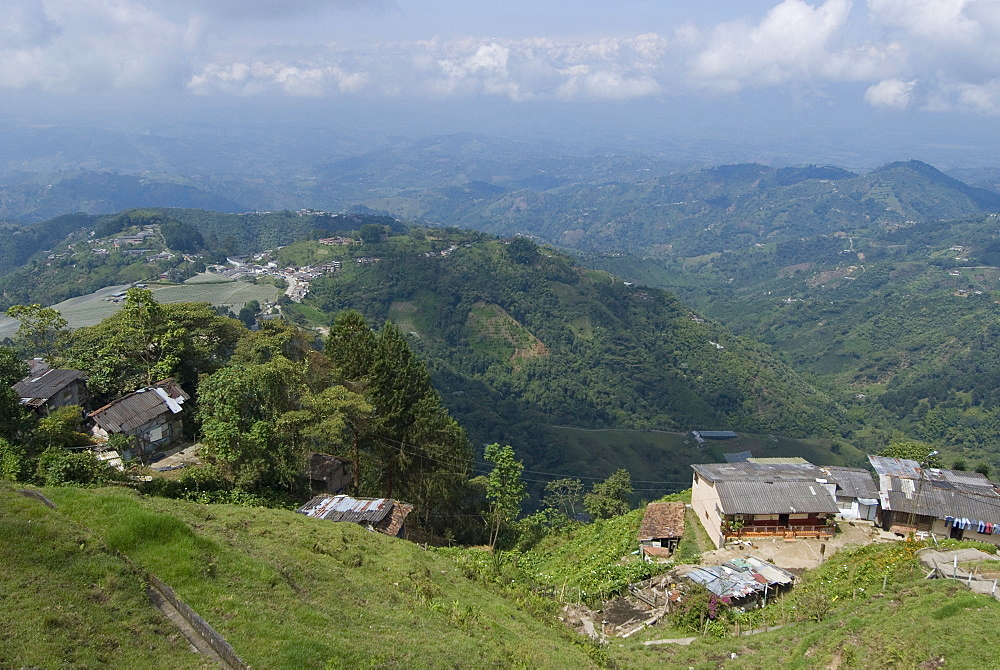 Hills and coffee plantations near Manizales, Colombia, South America