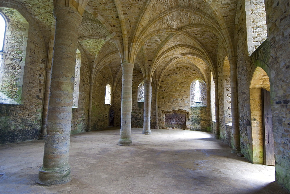 Crypt, ruins of Battle Abbey, Battle, Sussex, England, United Kingdom, Europe