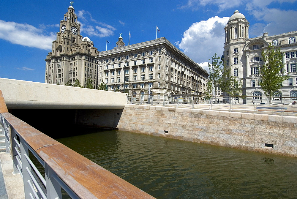 The new link between the Leeds and Liverpool canals, in front of the Three Graces, Liverpool, Merseyside, England, United Kingdom, Europe