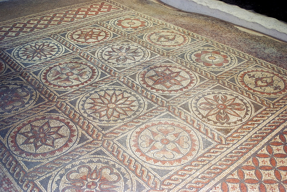 Mosaic from remains of Roman villa, St. Albans, Hertfordshire, England, United Kingdom, Europe