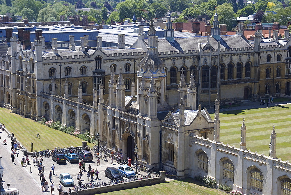 Aerial view of KIng's College from St. Mary's Church, Cambridge, Cambridgeshire, England, United Kingdom, Europe
